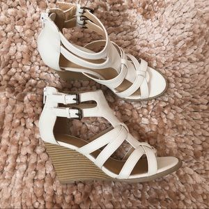 Women's White Strapped Wedges